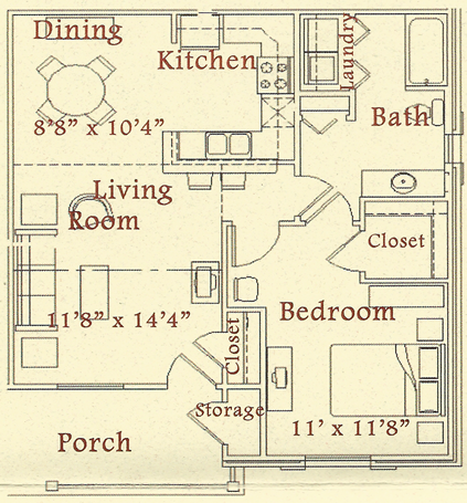 A - One Bedroom / One Bath - 769 Sq. Ft.*