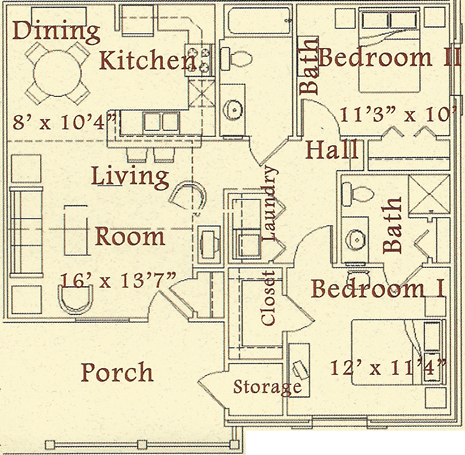 B - Two Bedroom / Two Bath - 975 Sq. Ft.*